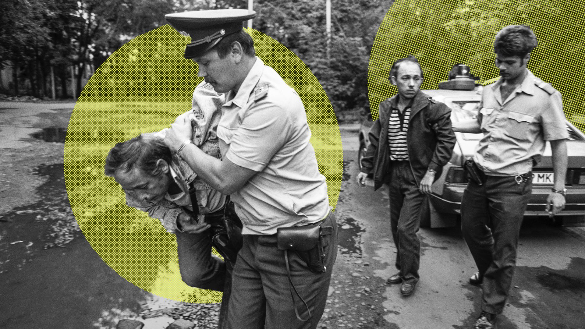 Moskva, Rusija. 1. avgusta, 1993. Zadržanega peljejo v treznilnico.