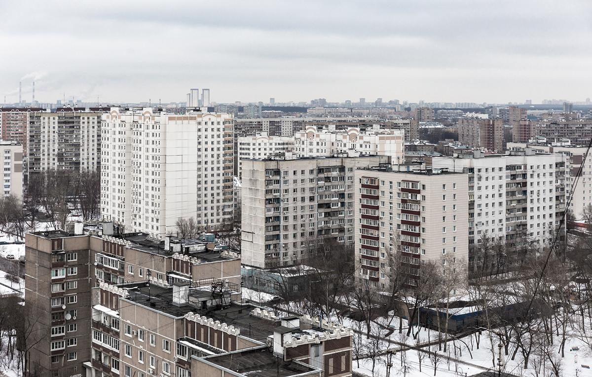 Sowjetische Bezirksentwicklung in Moskau.