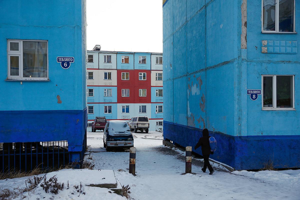 Wohnhäuser in Anadyr, Tschukotka.