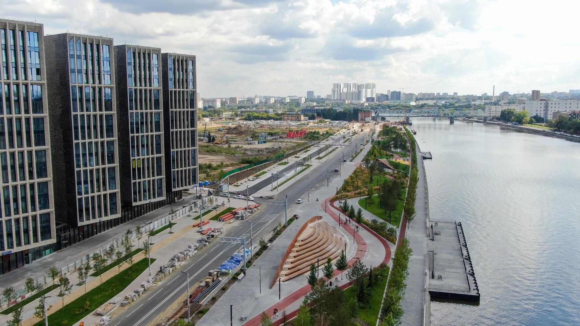 Ein neues Wohngebiet in Moskau unweit des Stadtzentrums.