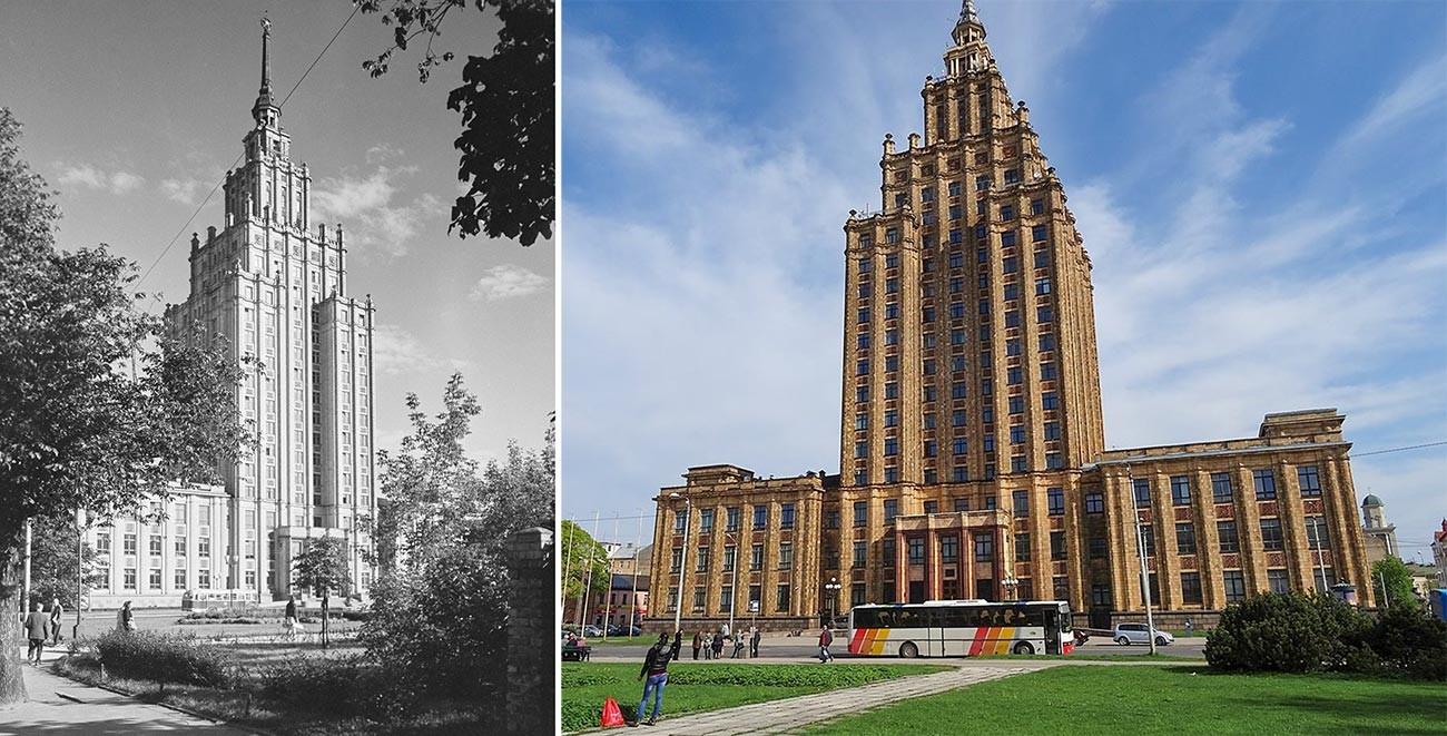 Academia de Ciências da Letônia em 1962 (esq.) e hoje.