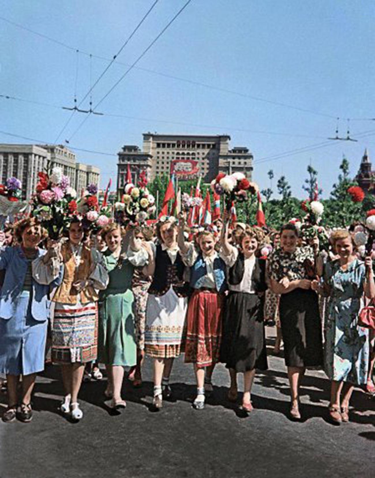 メーデーの日のモスクワ、1955年