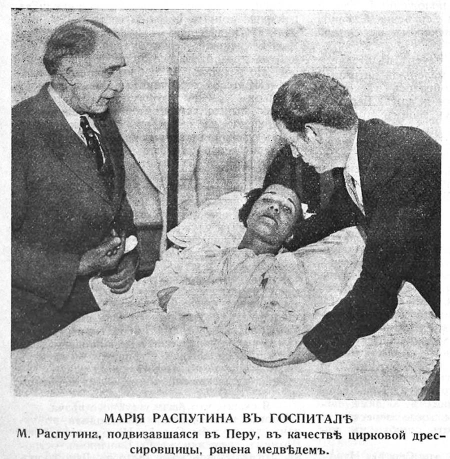 シロクマに襲われ、病院に運ばれたマトリョーナ