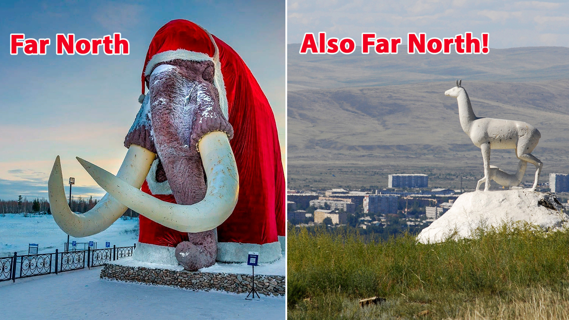 Left: Salekhard, the city on the Polar Circle. Right: Kyzyl, the city in Southern Siberia.