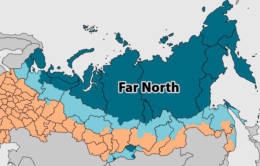 Карта крайних северных регионов.
