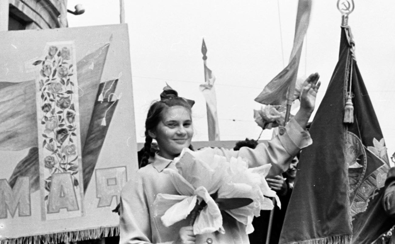 Lors de la manifestation du 1er mai à Moscou, 1952