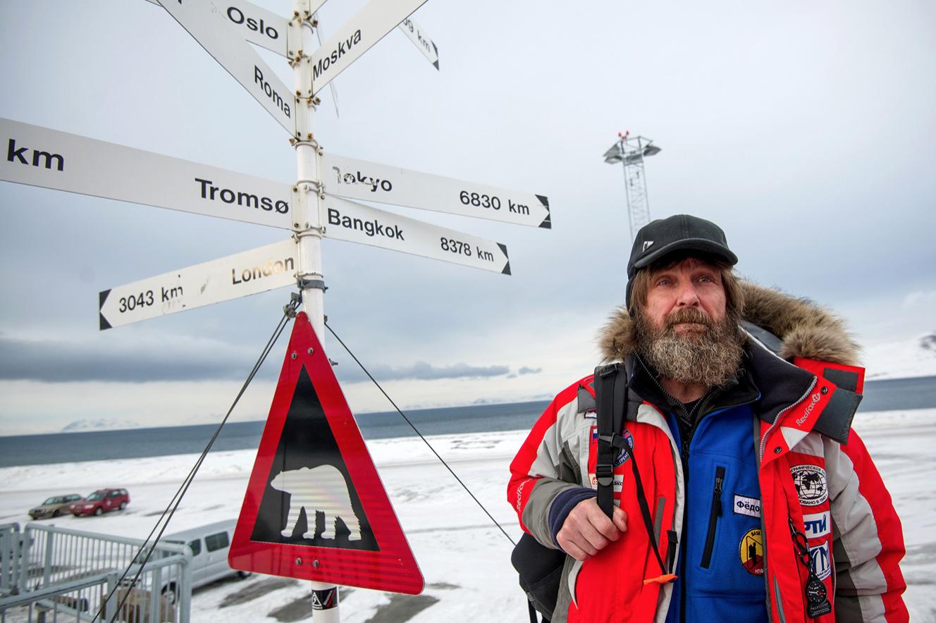 Sur l'île Spitzberg, lors de son expédition Carélie-Pôle Nord-Groenland