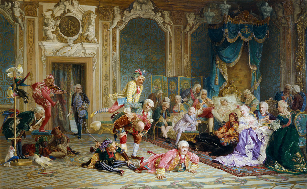 """Дворските шутови на императорката Ана"", Валериј Иванович Јакоби, 1872 година"
