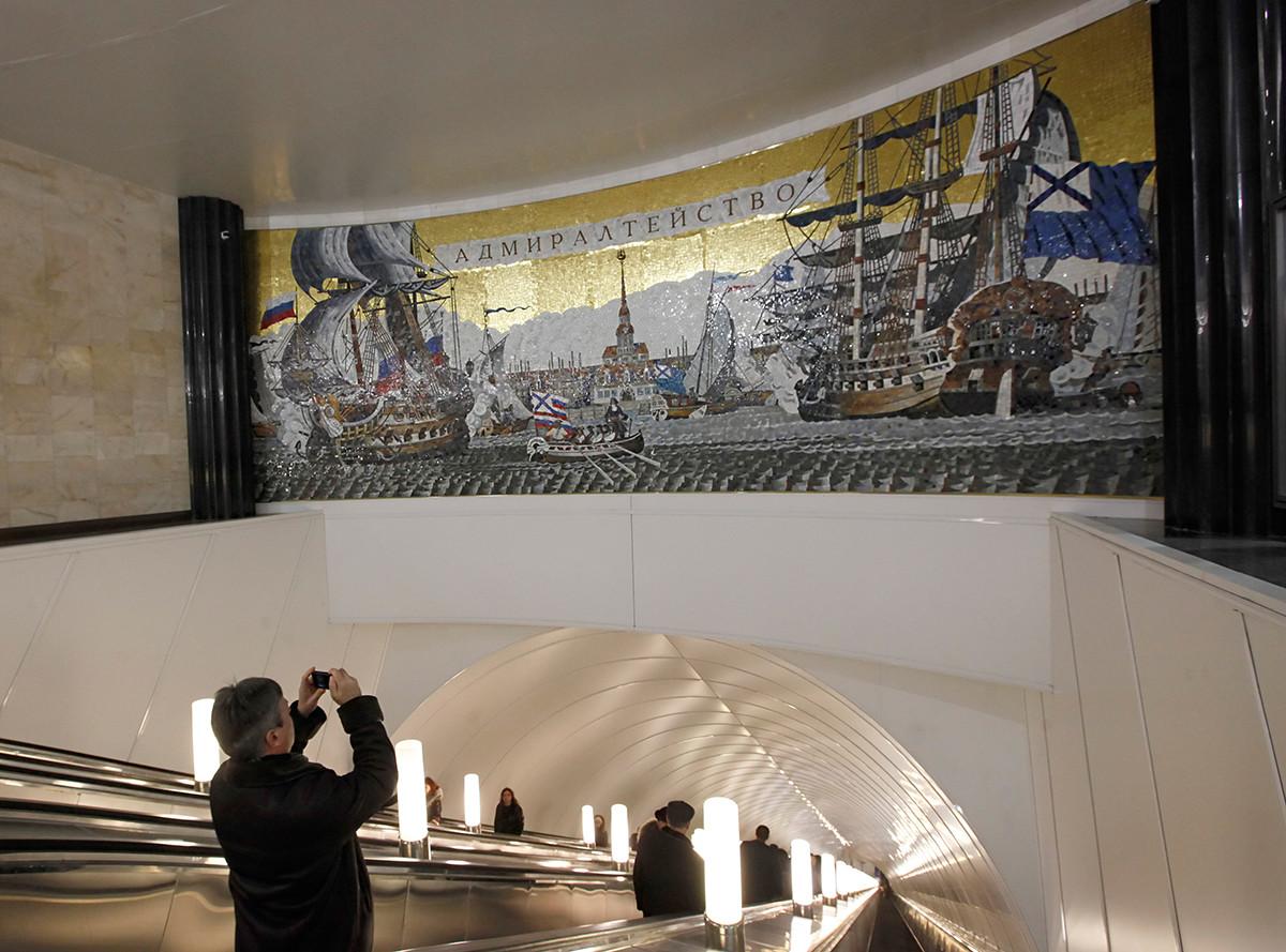 La nouvelle station de métro de Saint-Pétersbourg Admiralteïskaïa
