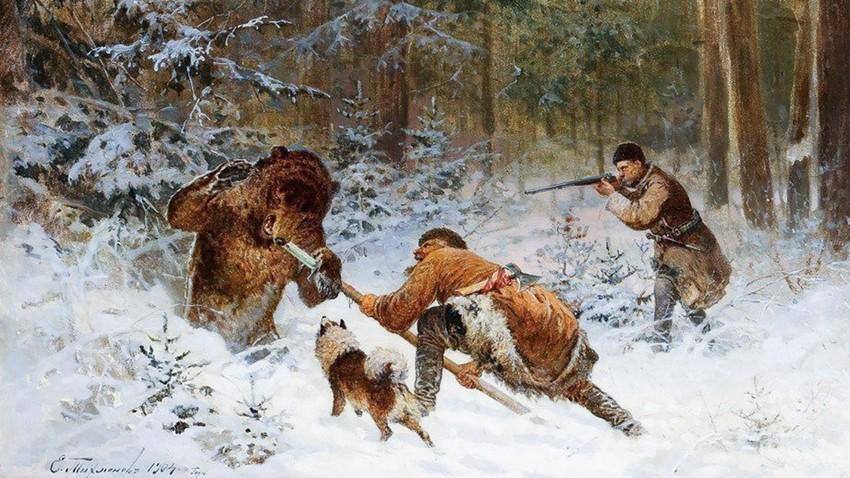 Jagd auf einen Bären mit Rogatina.
