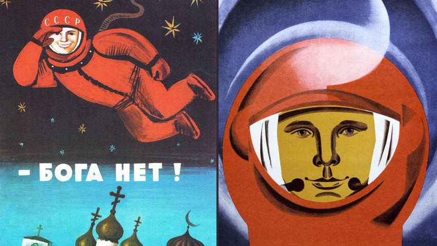 """Plakat """"Die Straße ist ohne Gott breiter."""" 1975 / Juri Gagarin Poster."""