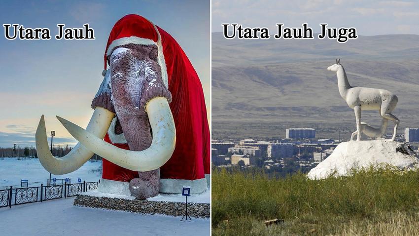 Kota Salekhard di Lingkaran Kutub (kiri) dan Kota Kyzyl di Siberia Selatan.