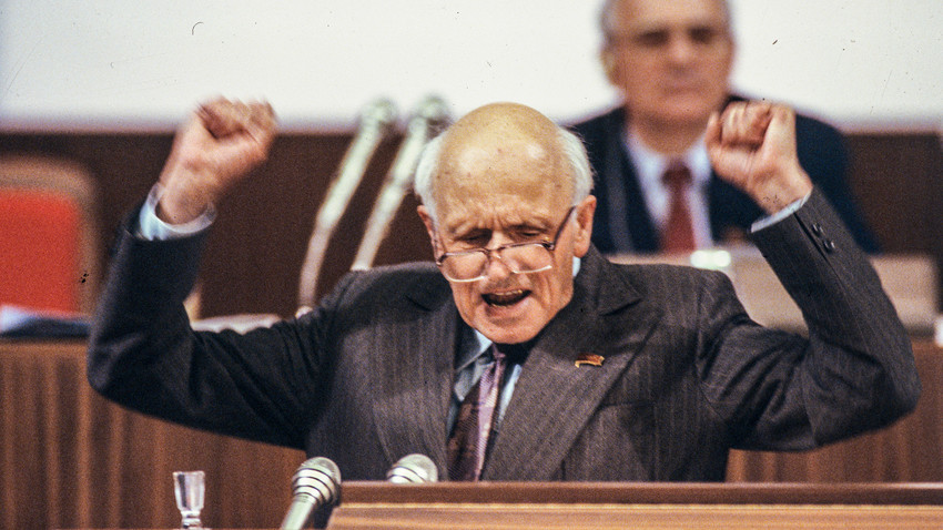 Andrei Sakharov at the Congress of People's Deputies of the USSR in 1989.