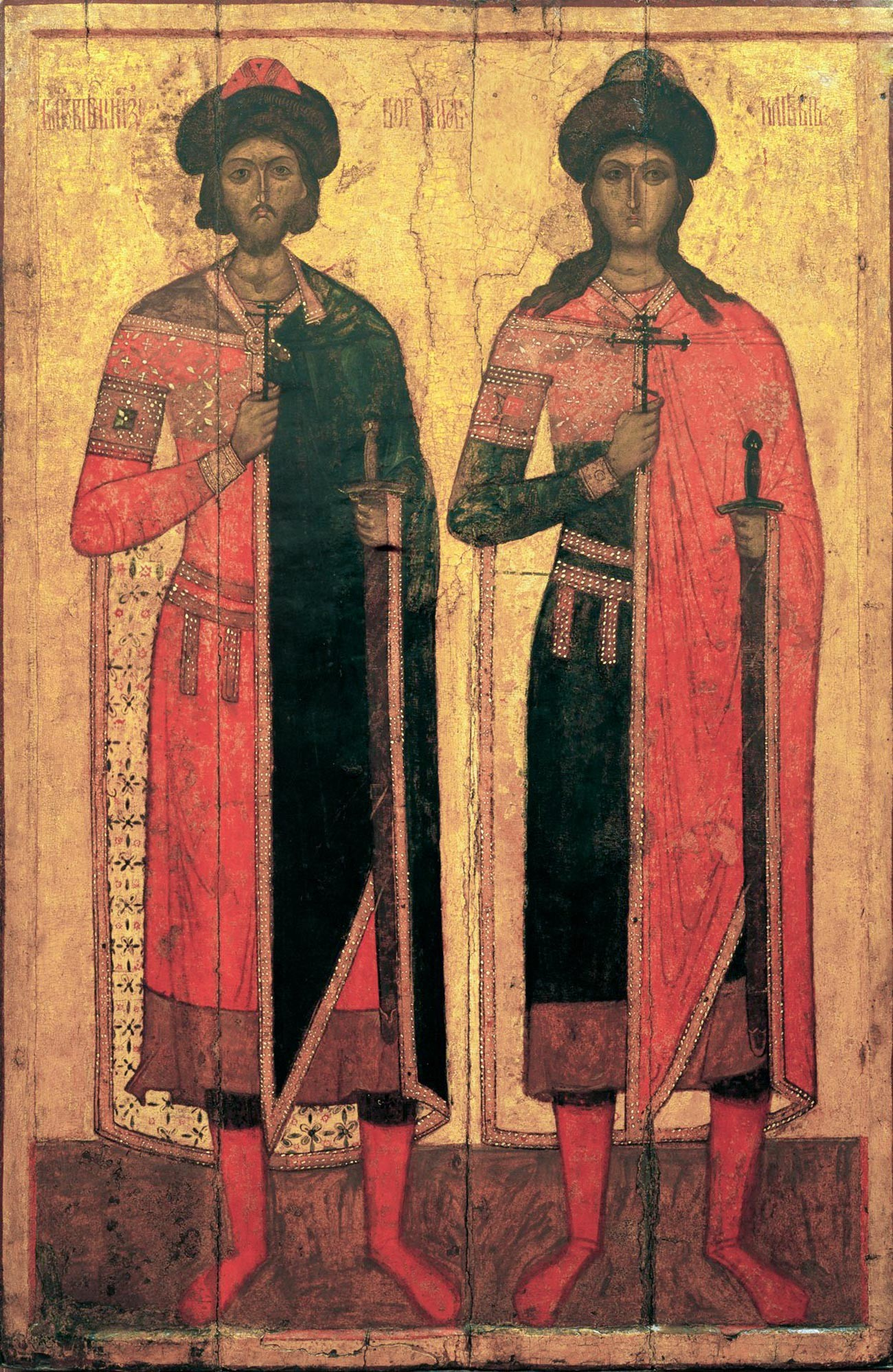 Príncipes Borís e Gleb, por volta de meados do século 14.