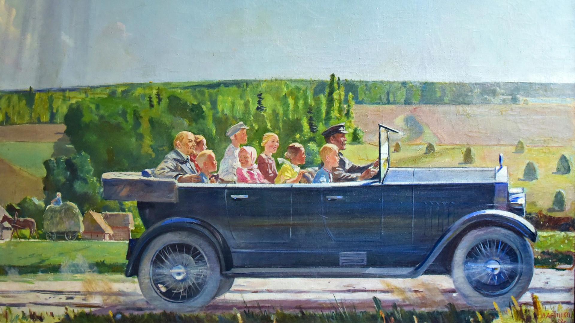 """Александър Дейнека, """"Ленин на разходка с деца"""""""