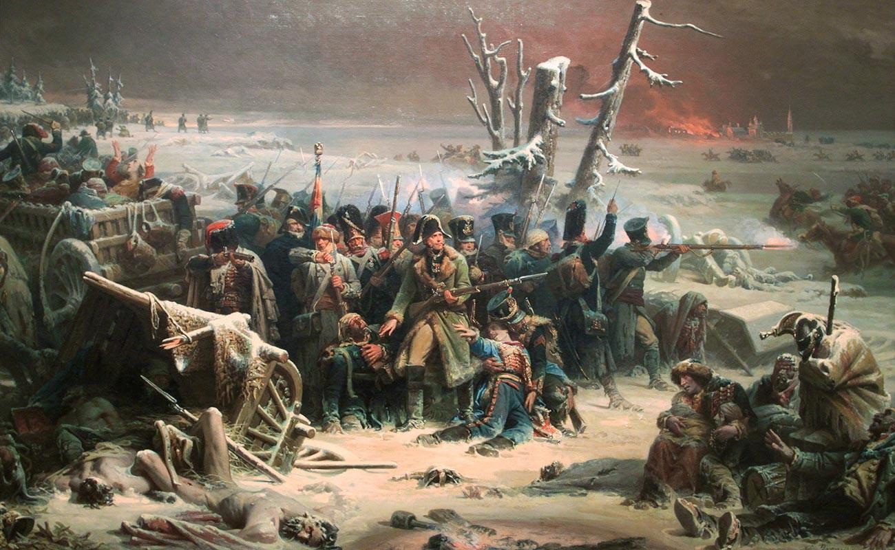 Maarschalk Ney ondersteunt de achterhoede tijdens de terugtocht uit Moskou.