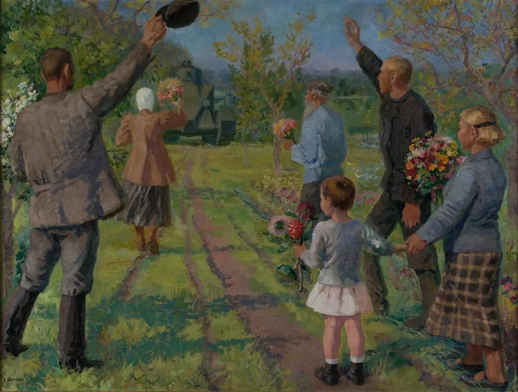 Екатерина Зернова. Колхозники приветствуют танкистов, 1937