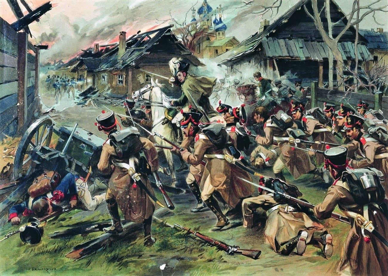 Die Schlacht um Malojaroslawez am 12. Oktober 1812.