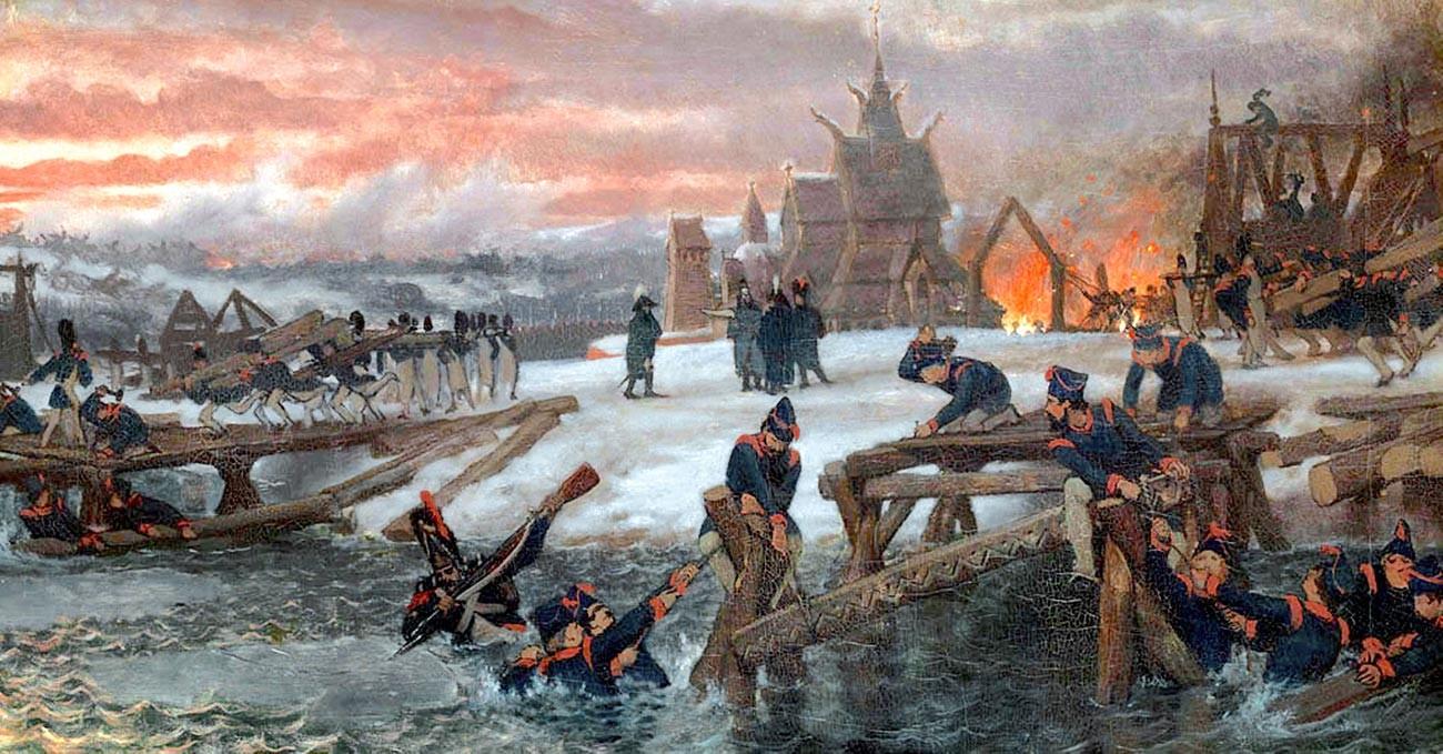 Die Pontonniers auf Befehl von Kapitän Benthien arbeiten am 26. November 1812 am Fluss Beresina und bauen die provisorischen Brücken, die einen Teil der großen Armee Napoleons retten werden.