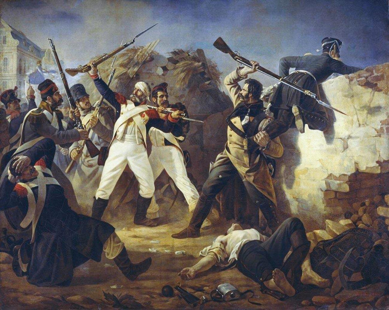 Das Kunststück des Grenadiers der Rettungsschwimmer des finnischen Regiments Leontij Korennoj in der Schlacht von Leipzig 1813.