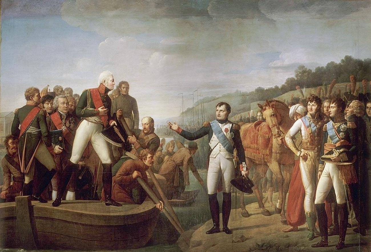 Adieux de Napoléon et d'Alexandre après la paix de Tilsit