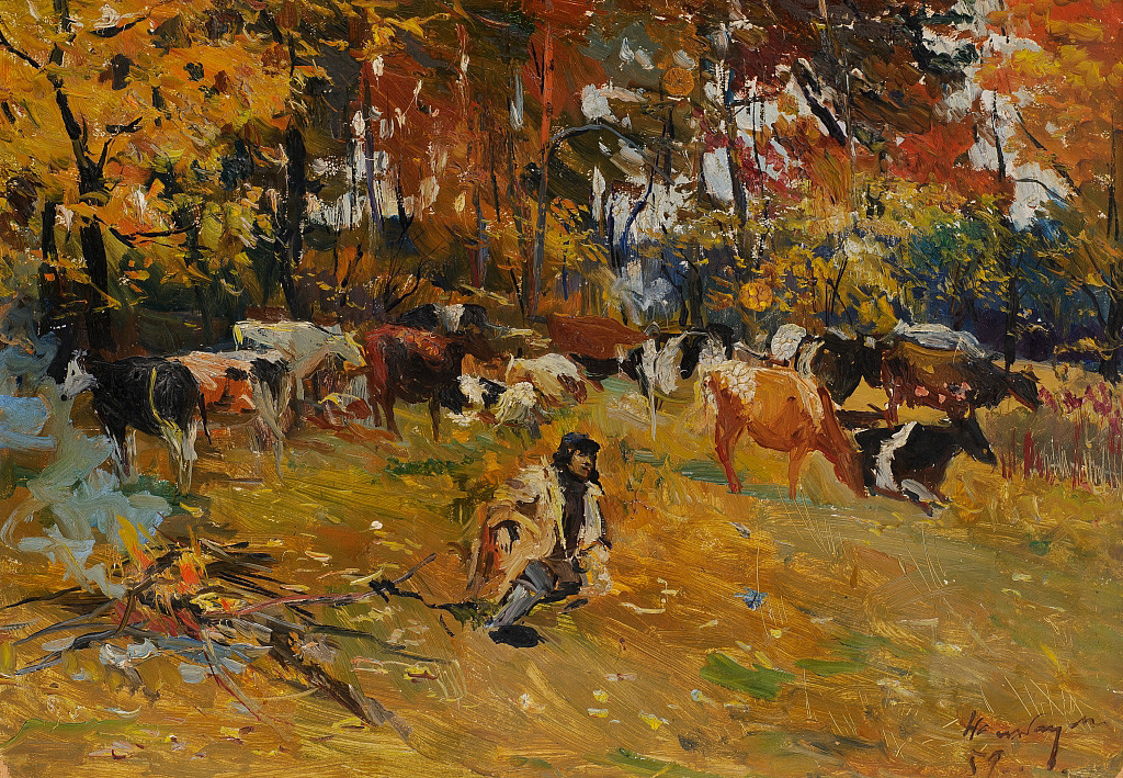 Dmitry Nalbandyan. Autumn Morning at the Campfire. Relaxation. 1959