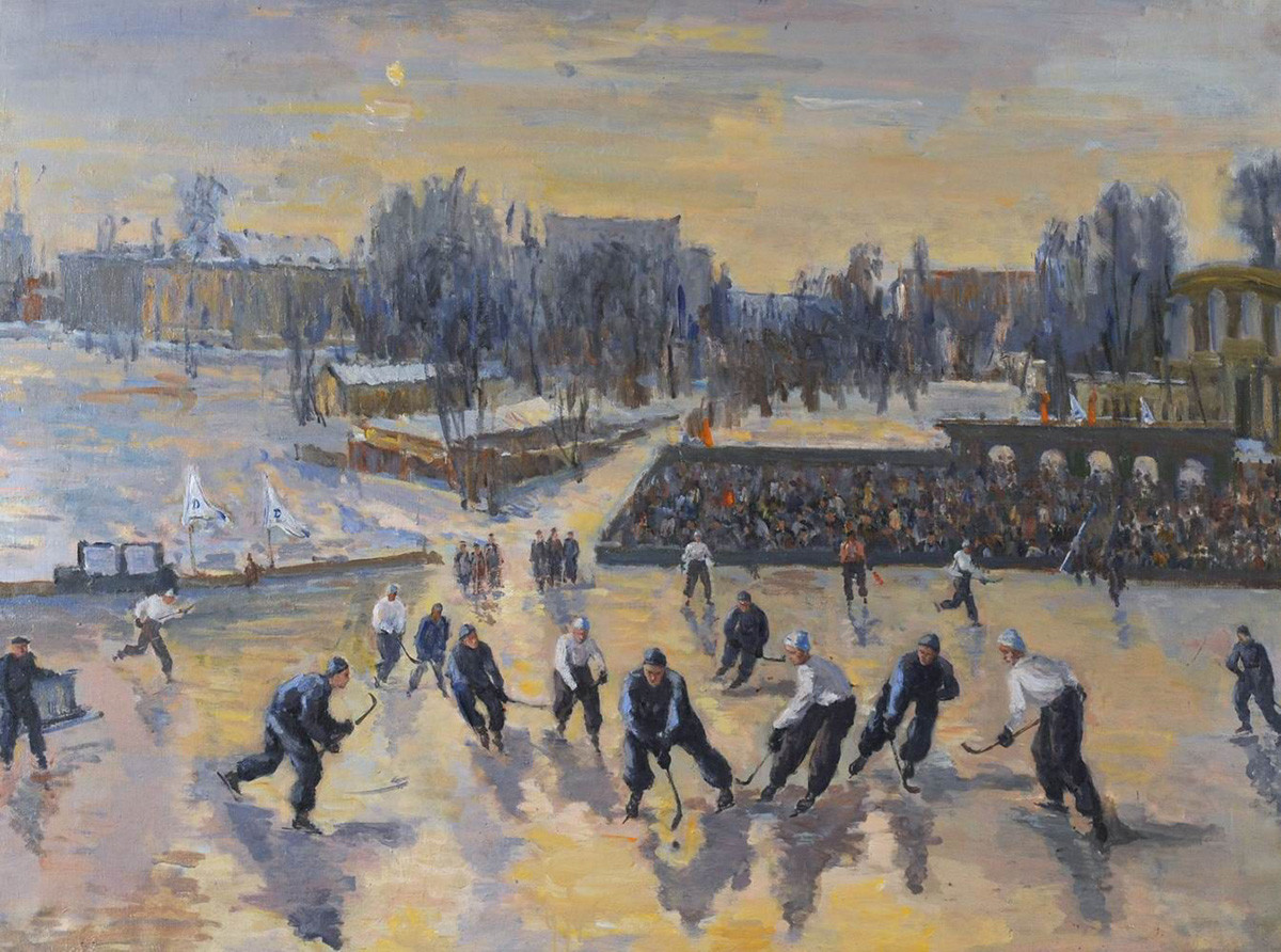 Viktor Midler. Hockey at the Dynamo stadium. 1948