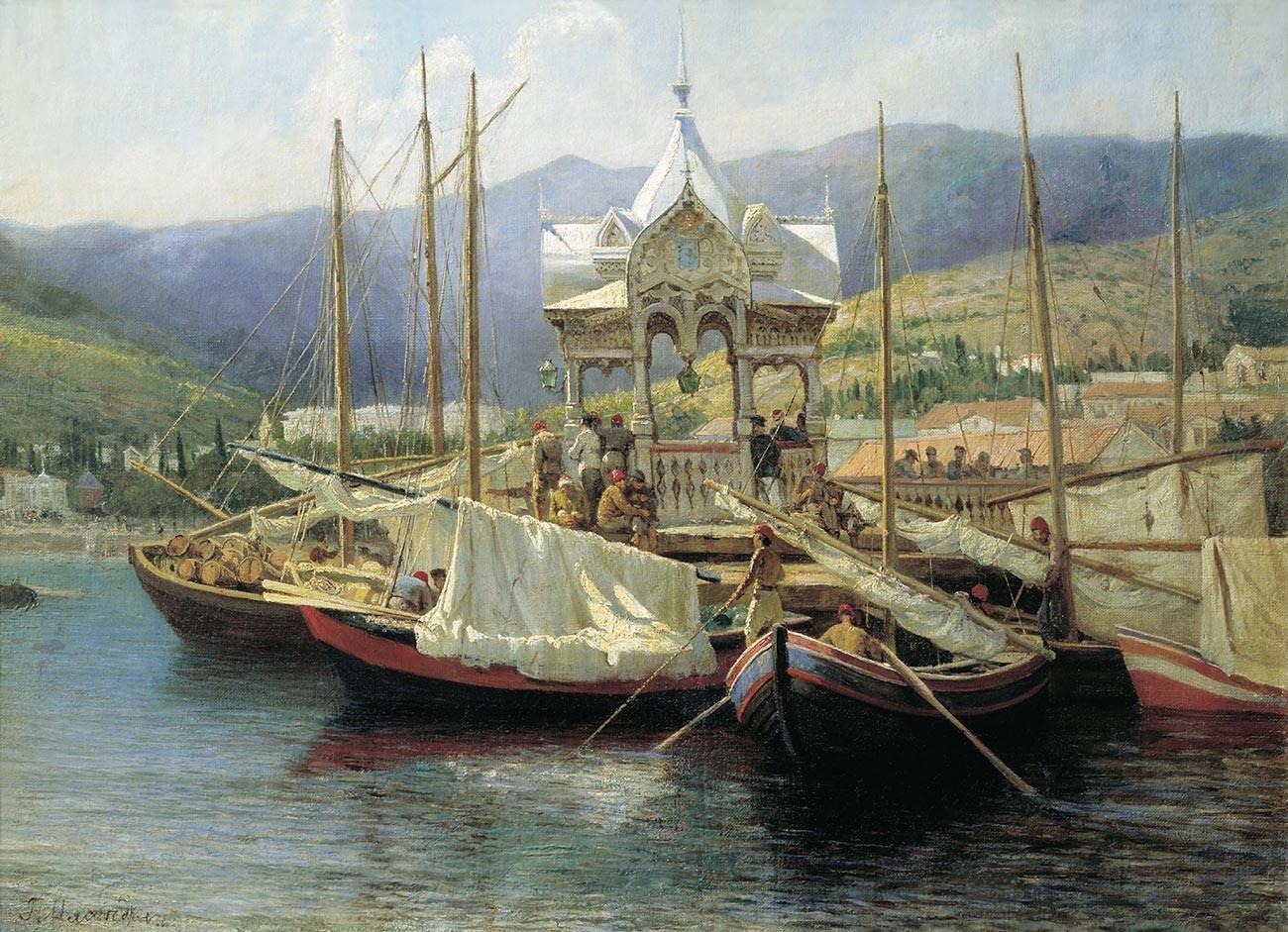ヤルタの埠頭、1890年