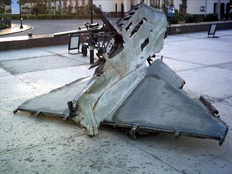 Ostaci izraelskog A-4 Skyhawka, oborenog u Listopadskom ratu između Izraela i Egipta
