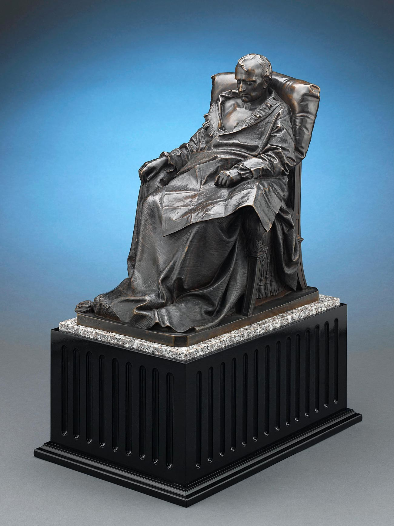 Last Days of Napoleon by Vincenzo Vela. Circa 1867. Bronze on marble and wood base.