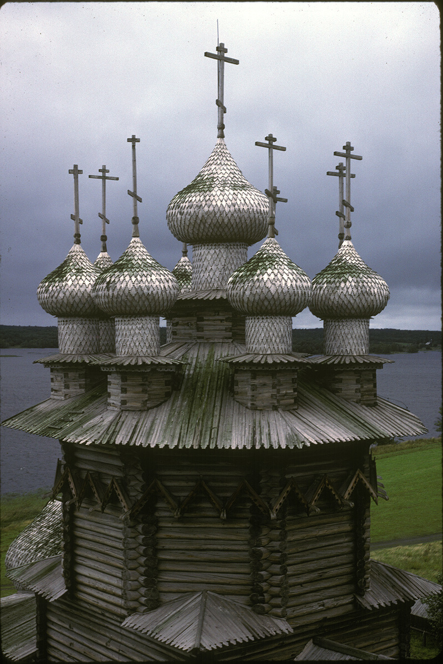 Church of the Intercession, upper structure. Northwest view taken from bell tower. July 18, 1988