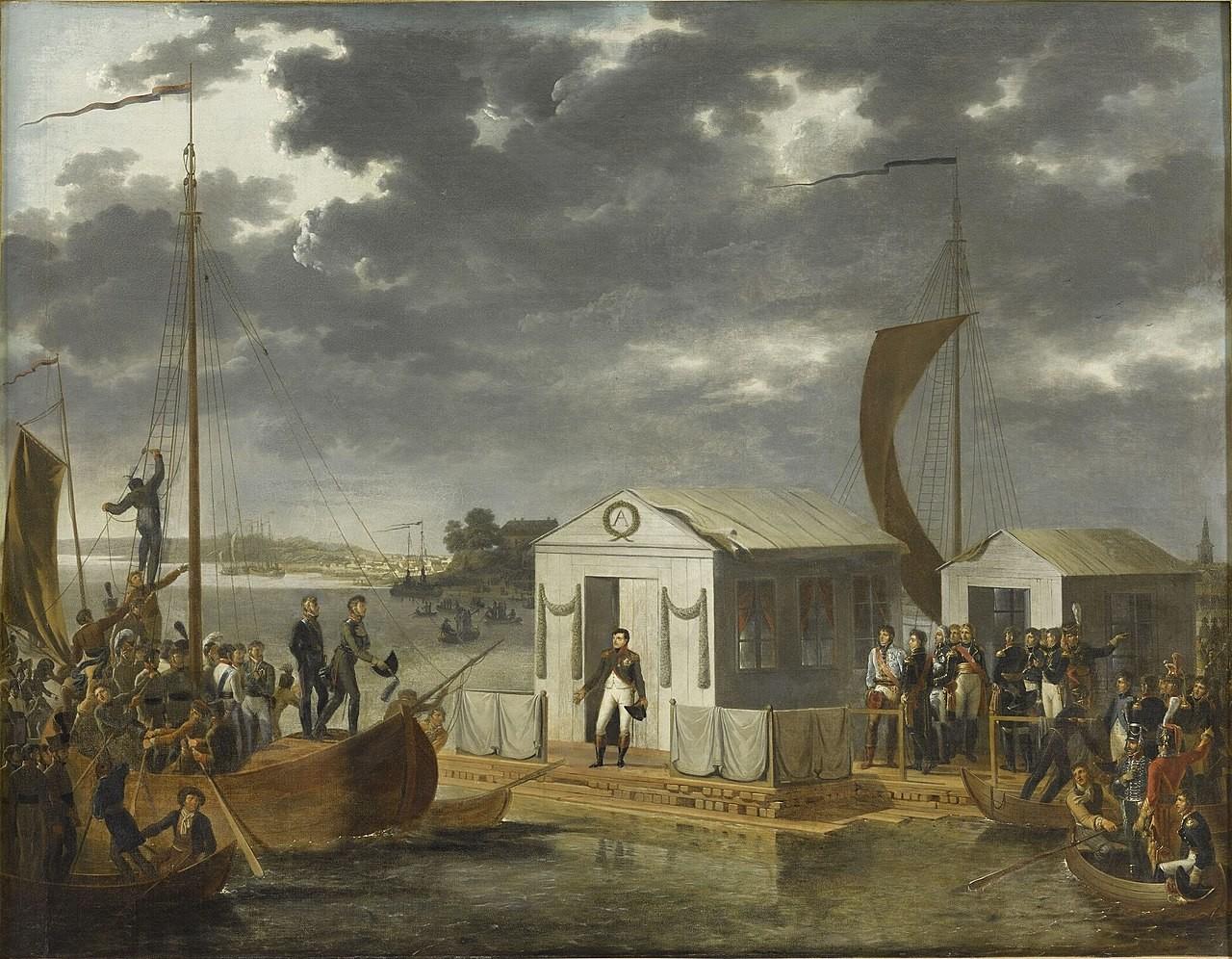L'incontro di Napoleone I e Alessandro I sul fiume Nemunas, 25 giugno 1807 (Trattato di Tilsit), di Adolph Roehn