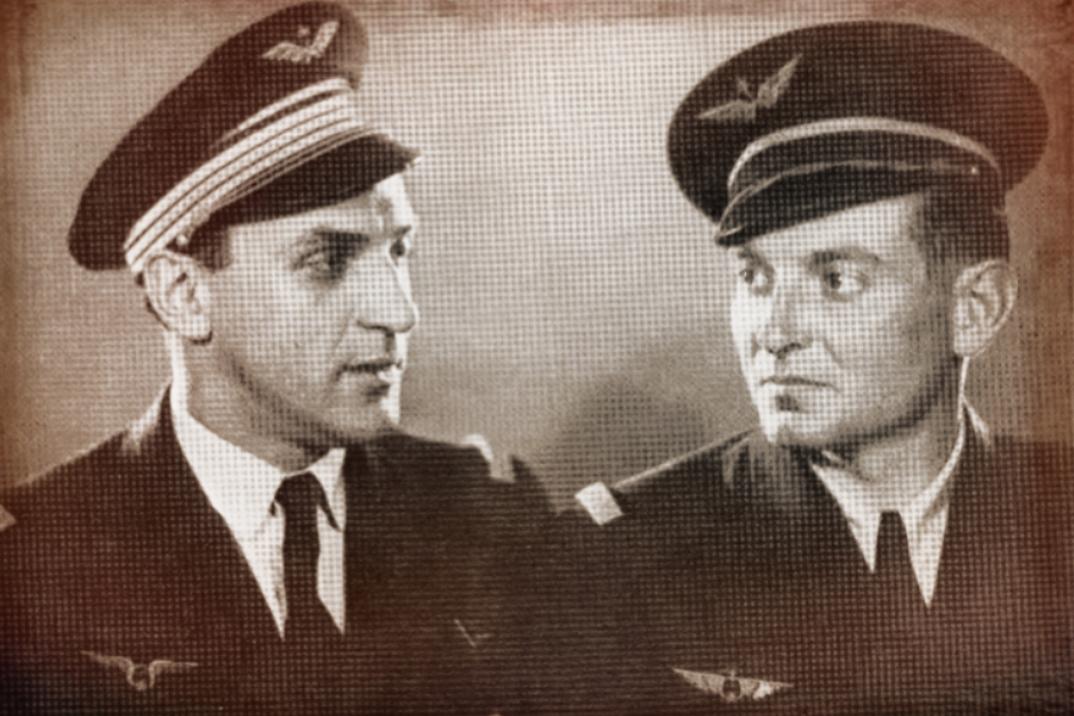 Albert Mirlesse et le pilote du régiment Normandie-Niémen, Albert Durand. Moscou, 1943