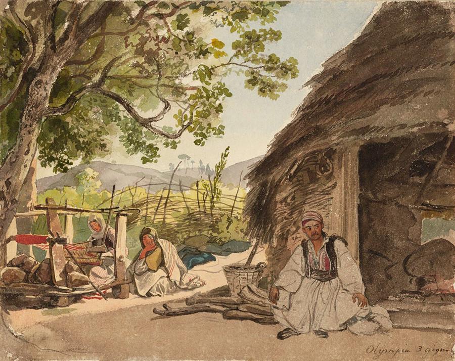 ミラカ村のギリシアの朝、1835年