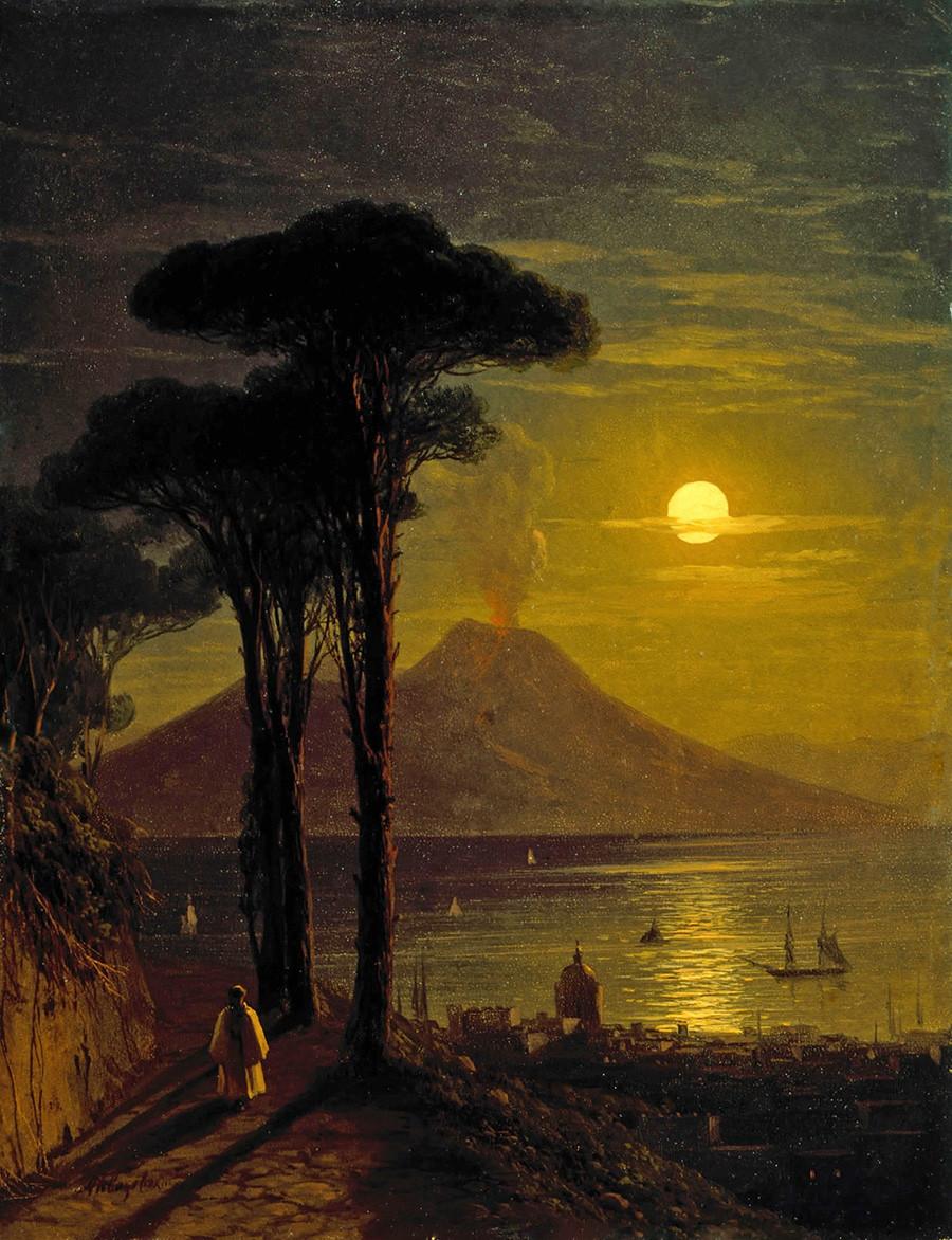 月夜のナポリ湾、1840年代