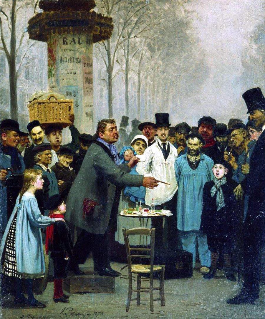 パリでニュースを売る男、1873年