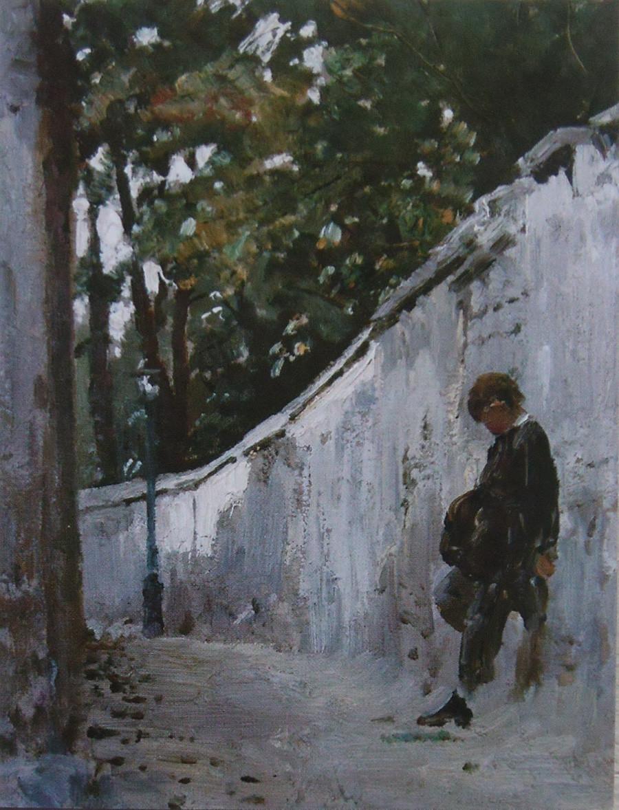 庭園の壁に立つ少年、モンマルトル、1876年