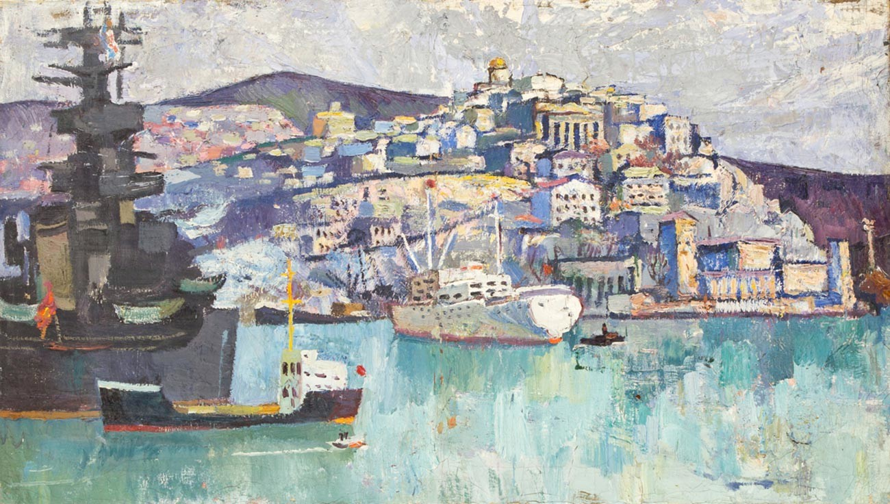Adolf Loza. Paysage de Sébastopol. Années 1960