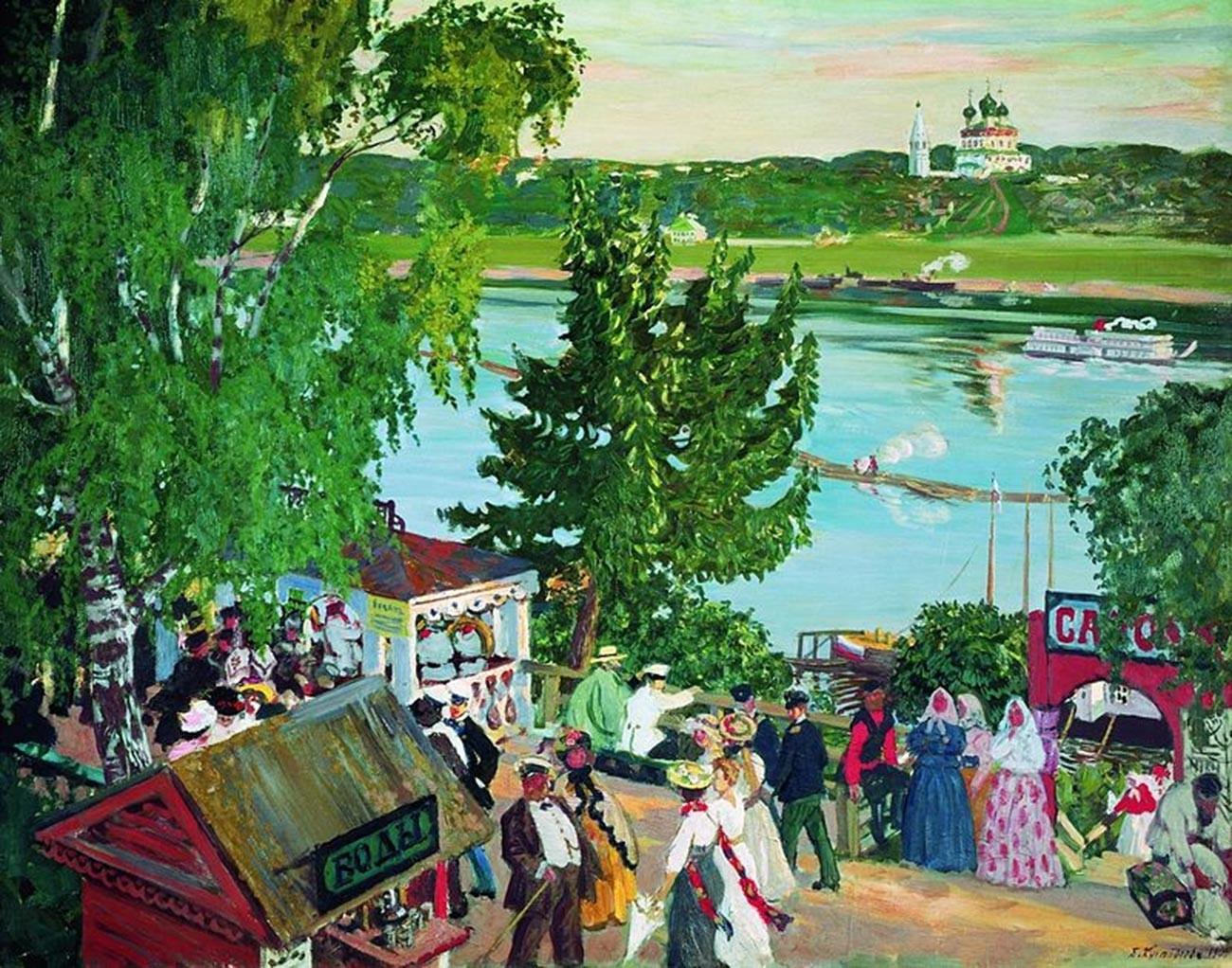 Boris Koustodiev. Promenade sur la Volga [Toutaïev, région de Iaroslavl]. 1909