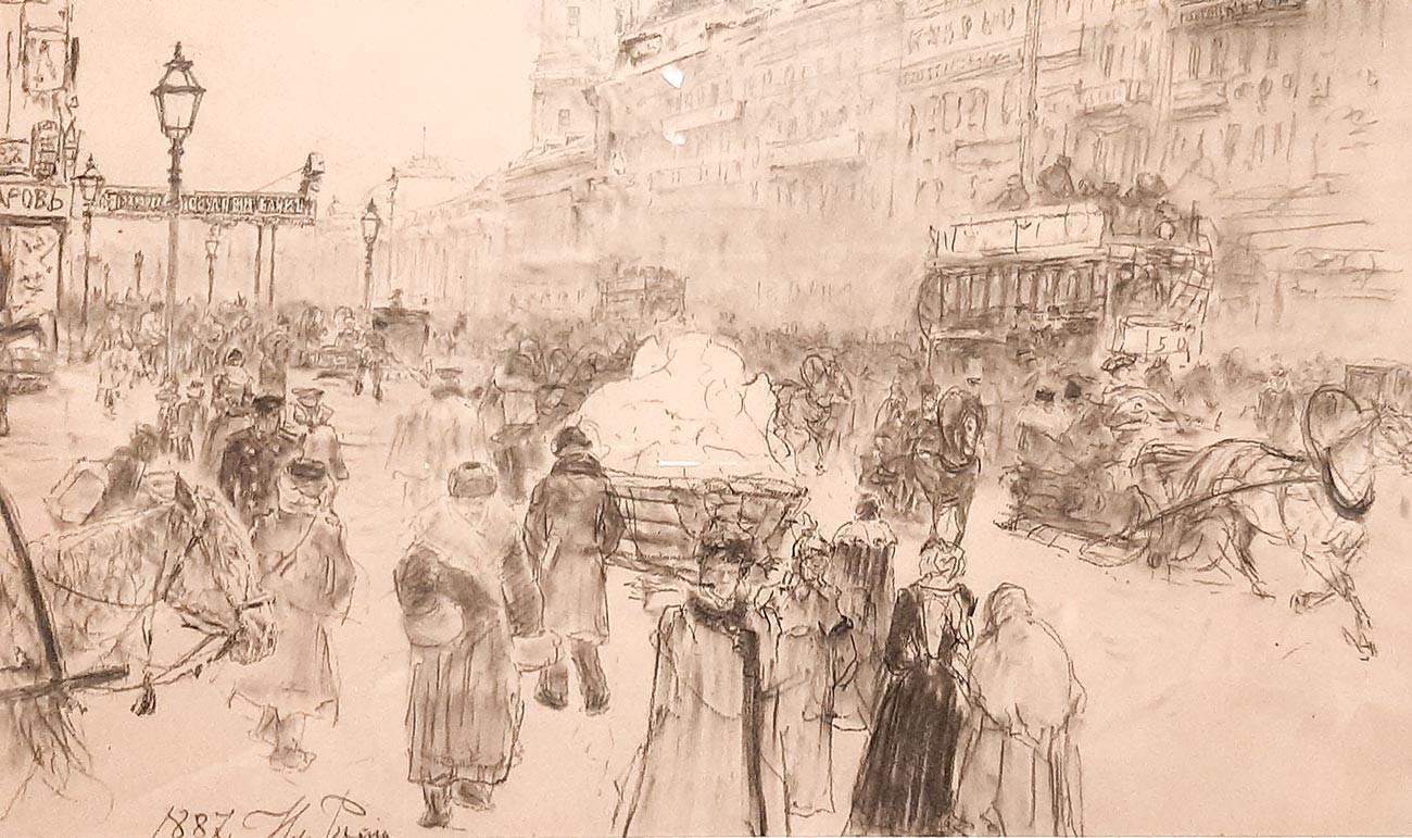 Ilia Répine. Perspective Nevski [Saint-Pétersbourg]. 1887