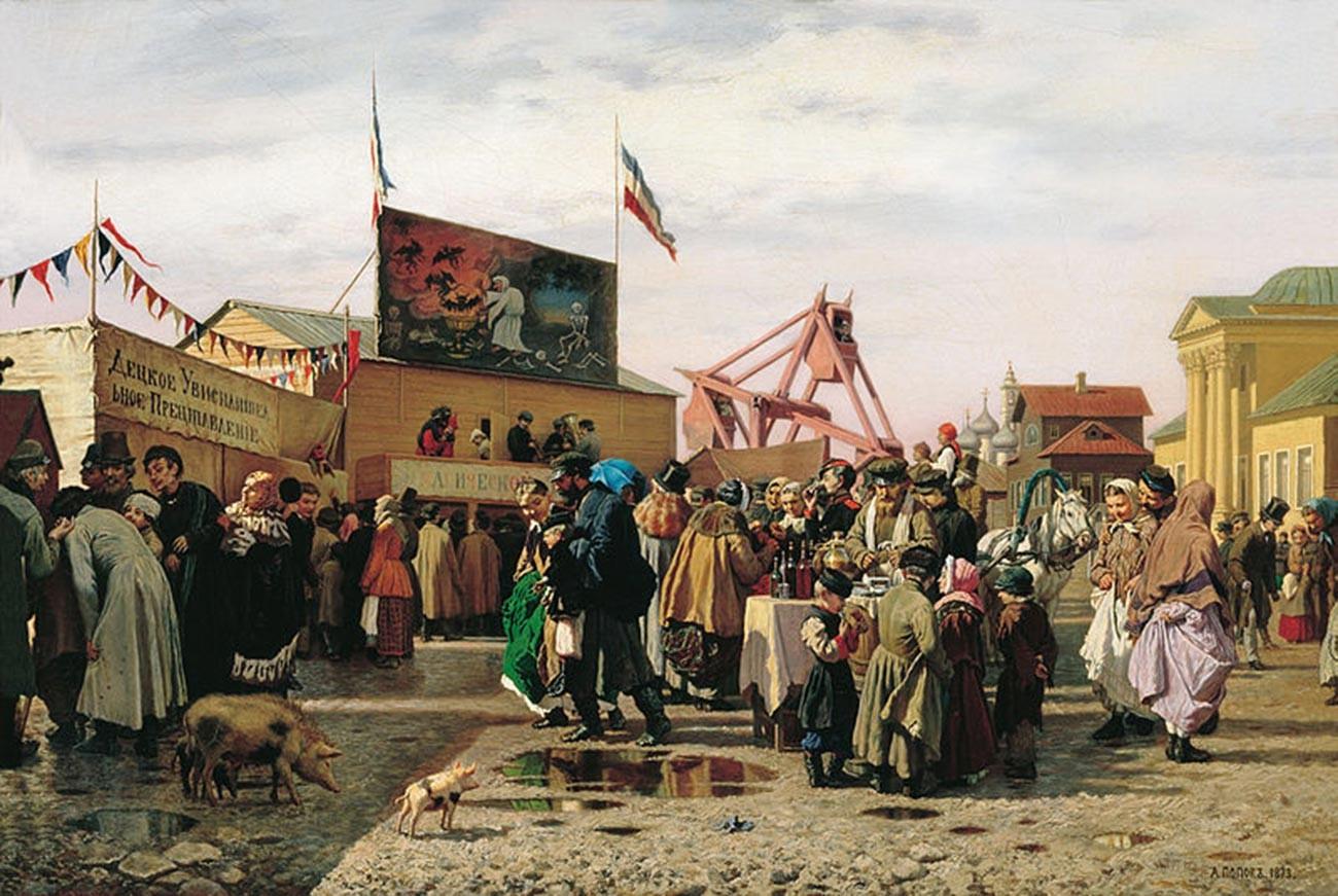 Andreï Popov. Saltimbanques à Toula durant la semaine sainte. 1873