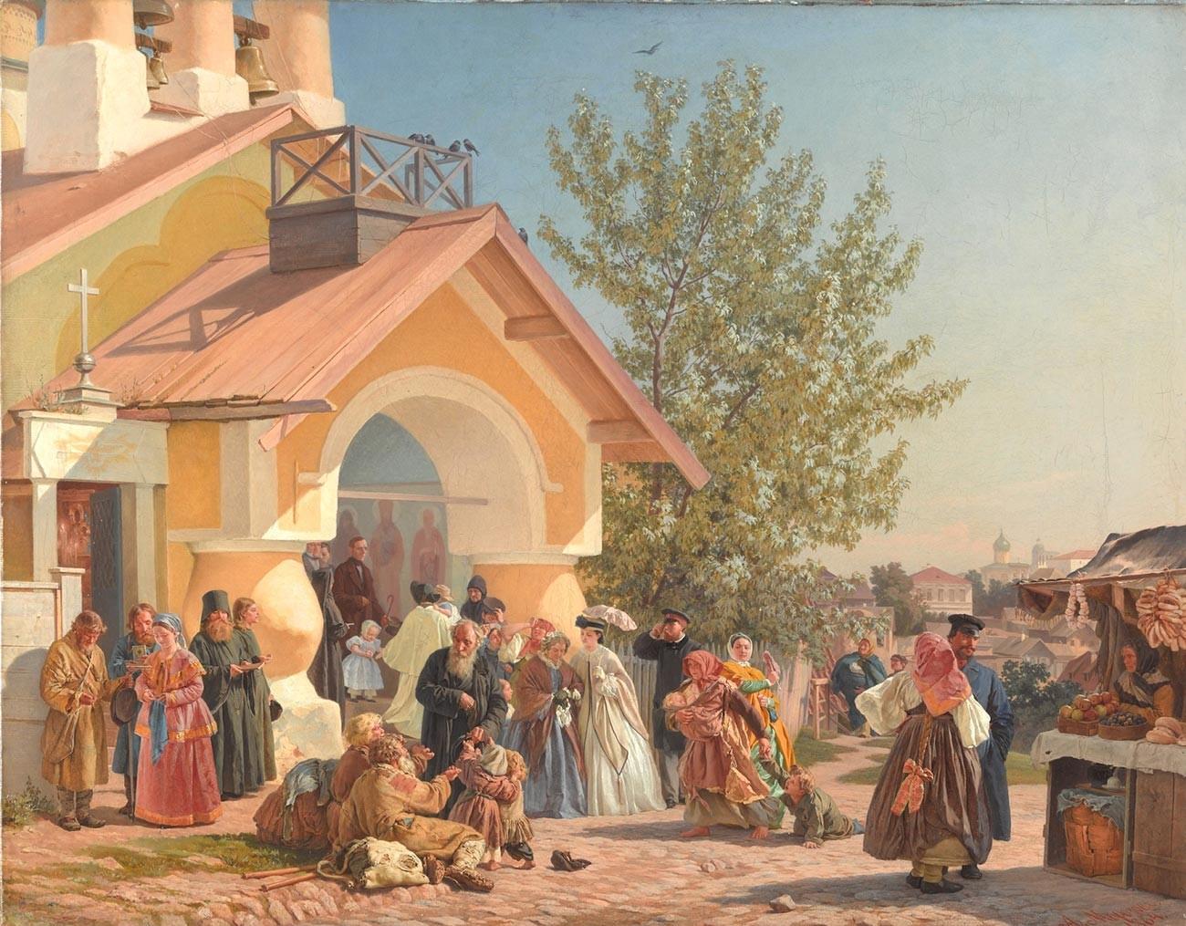 Alexandre Morozov. Sortie d'une église à Pskov. 1864