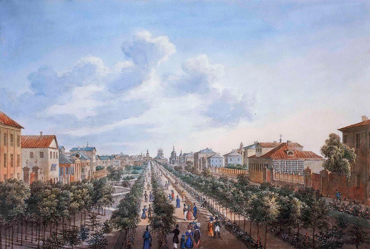 Twerskoi-Boulevard in Moskau, frühes 19. Jahrhundert.
