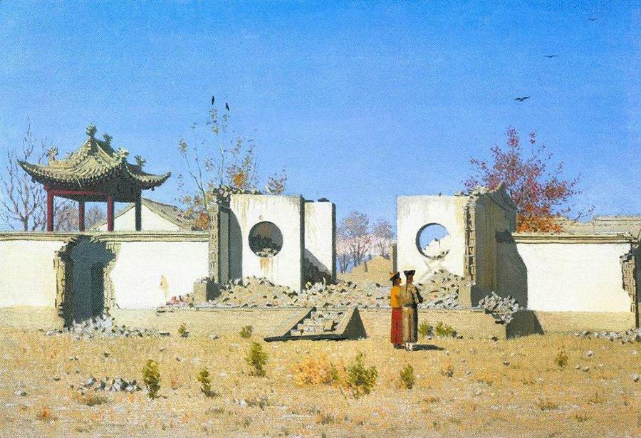 中国の寺院跡、アク・ケント、1870年