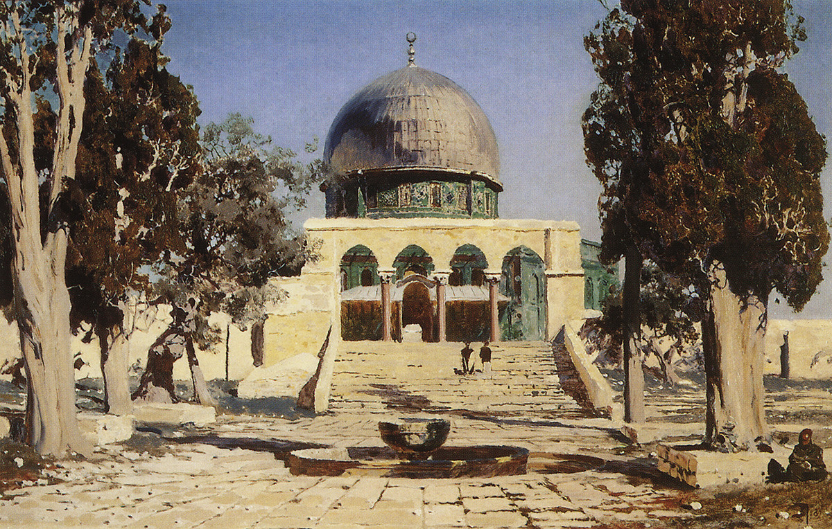 古代のエルサレムの神殿があるハラム・アッシャリフ、1882年