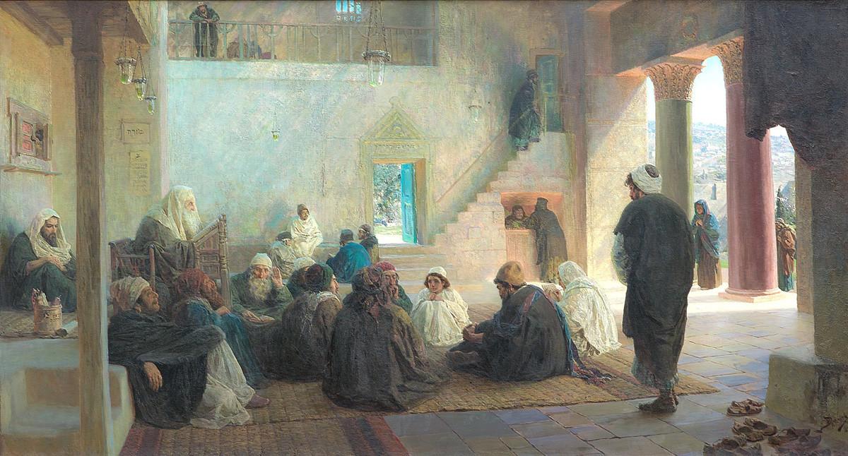弟子たちに囲まれて、1896年、シリーズ「ハリストスの人生」より