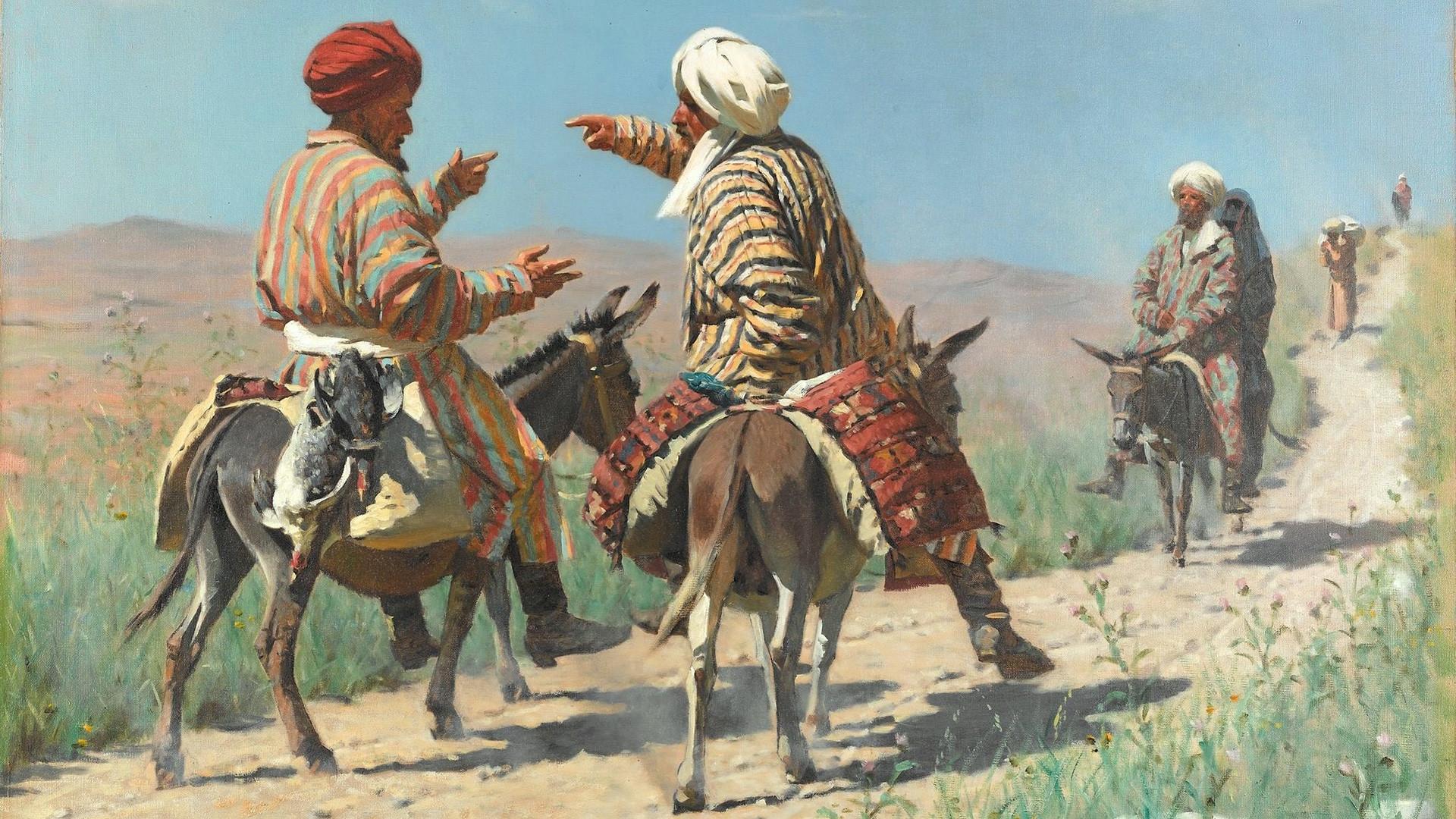 Мула Рахим и мула Керим се свађају на путу до тржнице, 1873, В. Верешчагин.