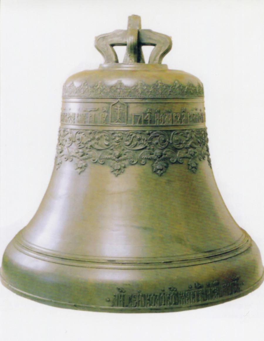 Exemplo de sino feito na Rússia. Sino criado por Ivan Motorin, 1714.