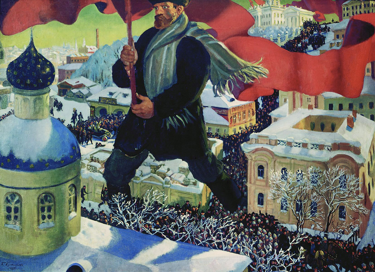 Boris Kustodijew. Der Bolschewik, 1920.