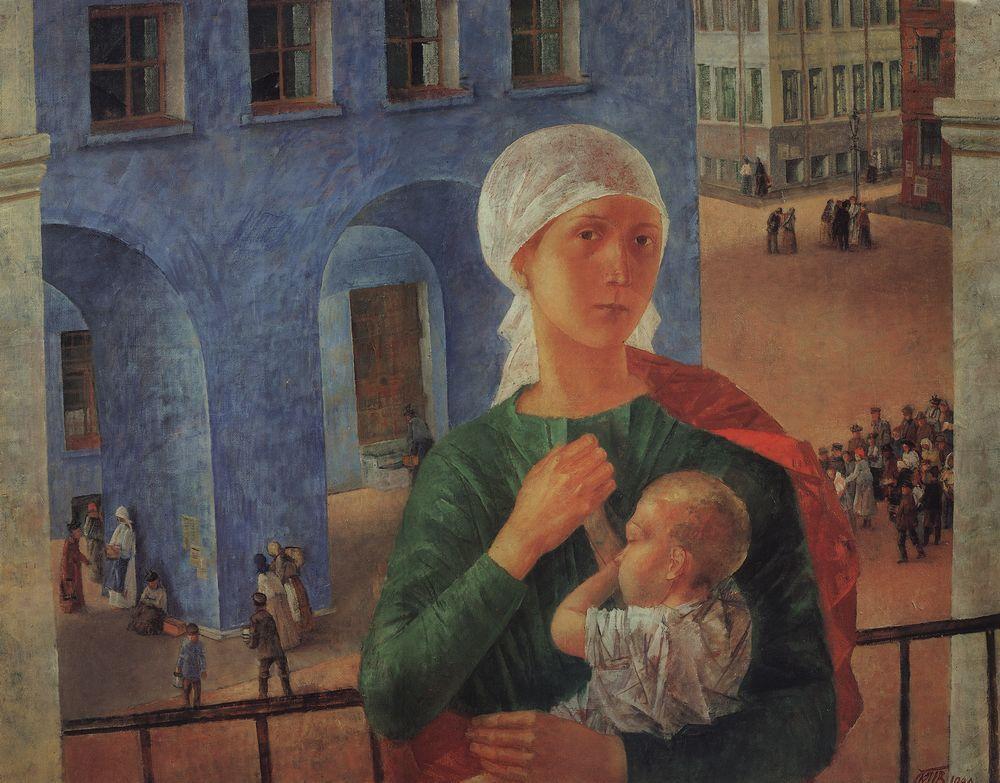 Kusma Petrow-Wodkin. 1918 in Petrograd (Petrograder Madonna), 1920.